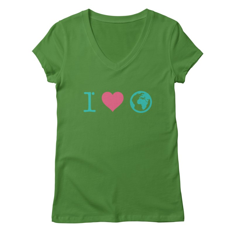 I Love Earth Women's V-Neck by ONEELL