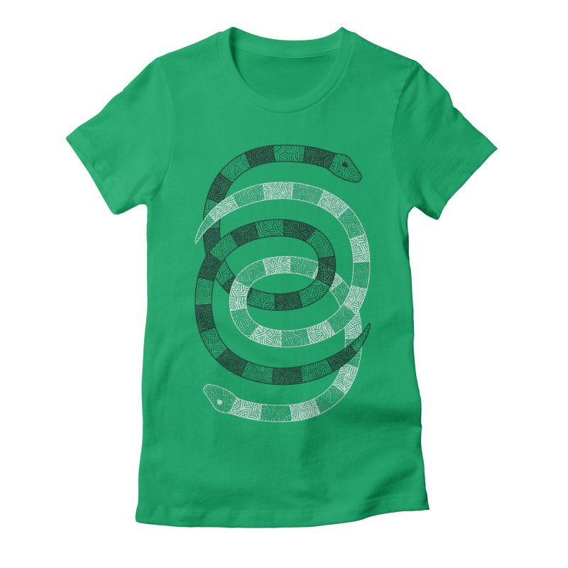 Snakes Women's Fitted T-Shirt by One Legged Kiwi's Artist Shop