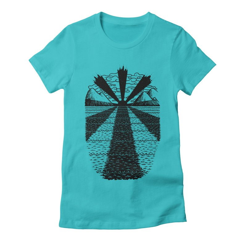 Dark Waves Women's Fitted T-Shirt by One Legged Kiwi's Artist Shop