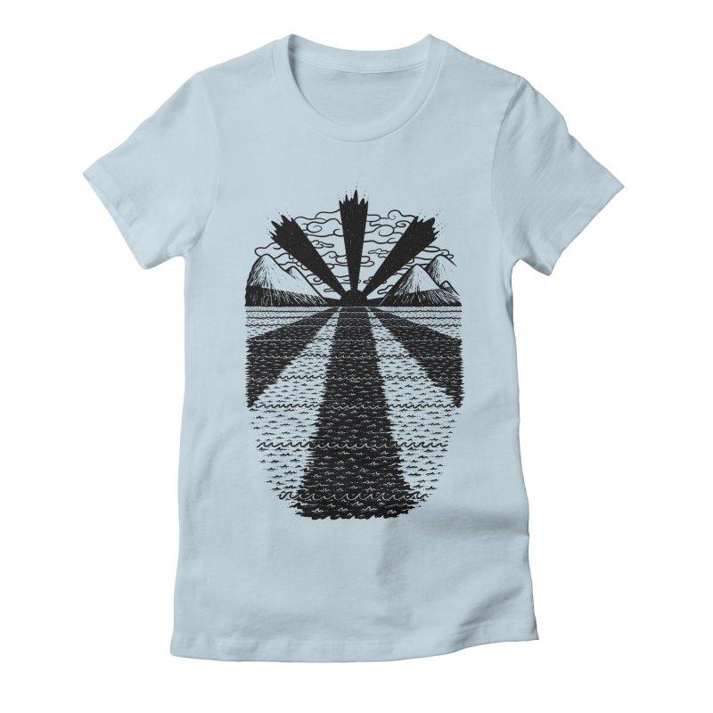 Dark Waves Women's Fitted T-Shirt by One Legged Kiwi's Artist Shop