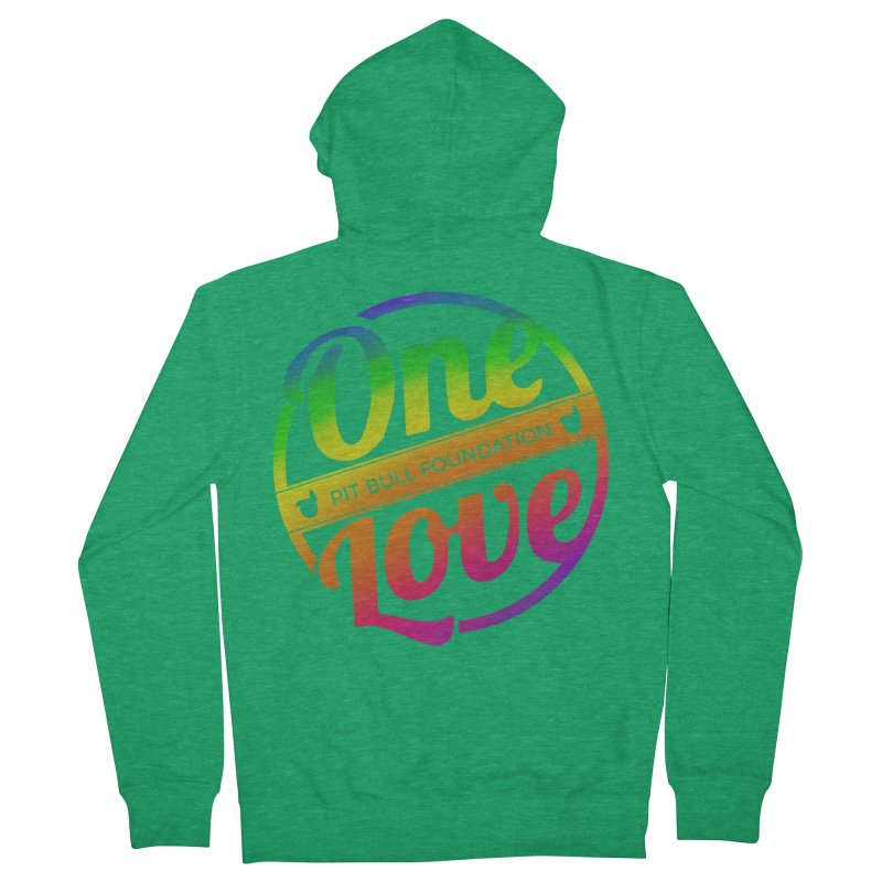 One Love Rainbow Men's Zip-Up Hoody by One Love Pit Bull Foundation