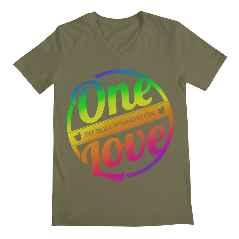 One Love Rainbow Men's V-Neck by One Love Pit Bull Foundation