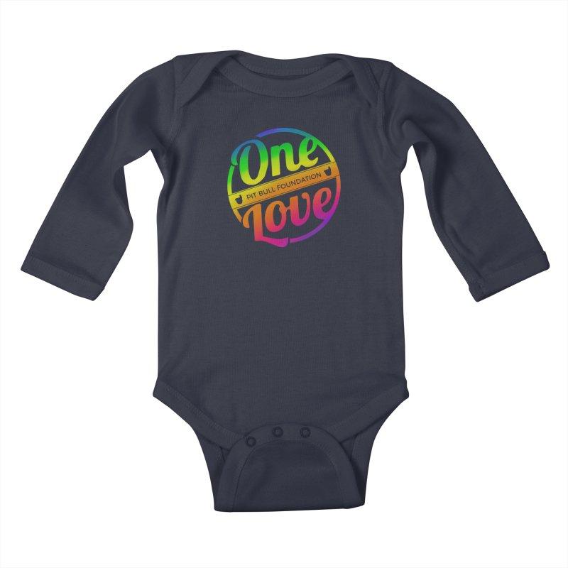 One Love Rainbow Kids Baby Longsleeve Bodysuit by One Love Pit Bull Foundation