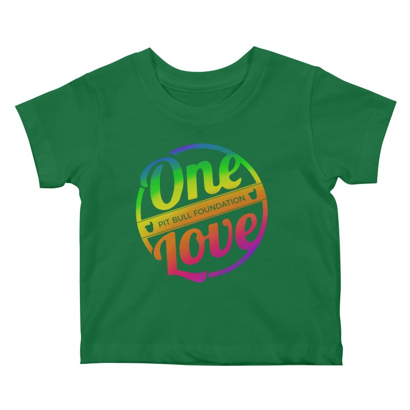 One Love Rainbow Kids Baby T-Shirt by One Love Pit Bull Foundation