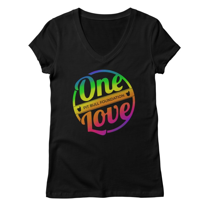 One Love Rainbow Women's V-Neck by One Love Pit Bull Foundation