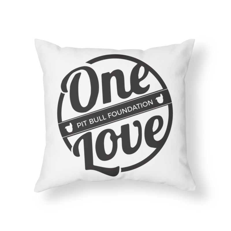 One Love Pit Bull Foundation Official Logo Black Home Throw Pillow by One Love Pit Bull Foundation