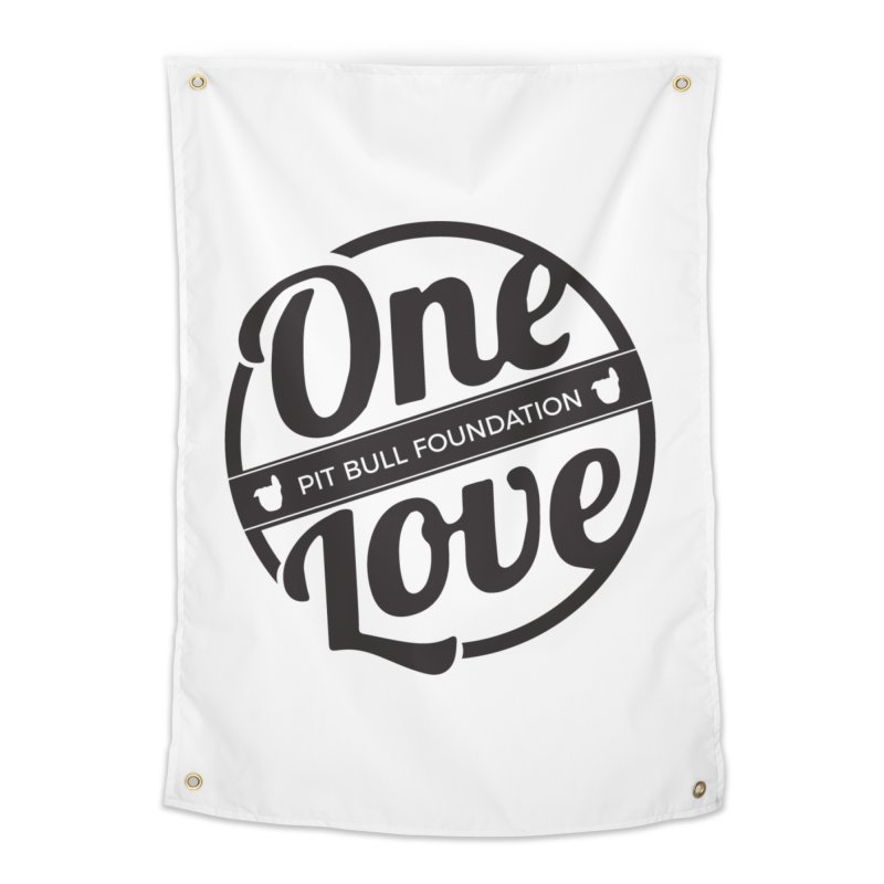One Love Pit Bull Foundation Official Logo Black Home Tapestry by One Love Pit Bull Foundation