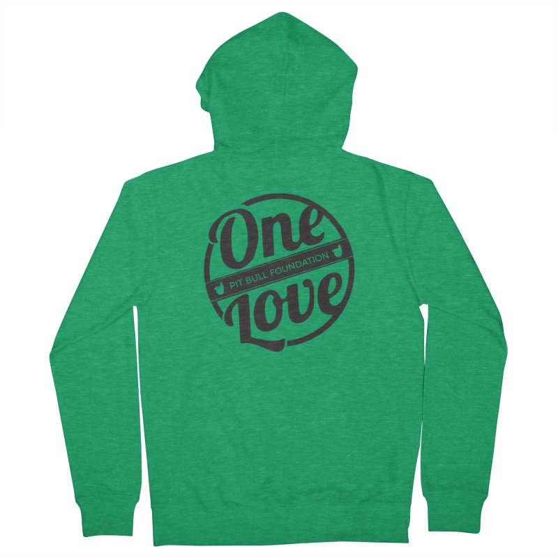 One Love Pit Bull Foundation Official Logo Black Men's Zip-Up Hoody by One Love Pit Bull Foundation