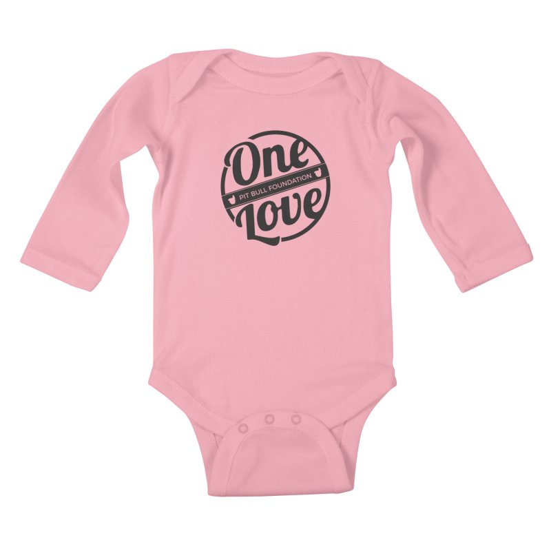 One Love Pit Bull Foundation Official Logo Black Kids Baby Longsleeve Bodysuit by One Love Pit Bull Foundation