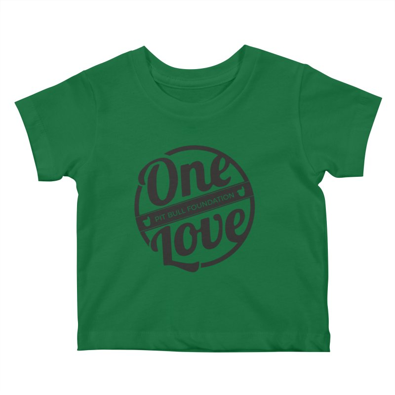 One Love Pit Bull Foundation Official Logo Black Kids Baby T-Shirt by One Love Pit Bull Foundation