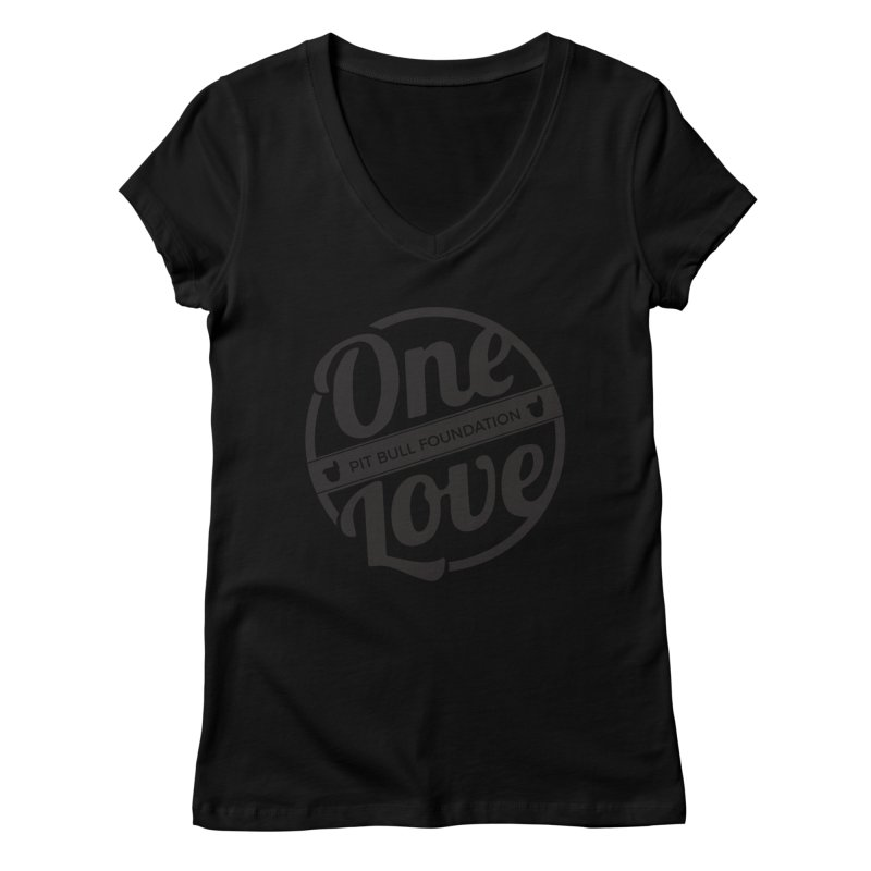 One Love Pit Bull Foundation Official Logo Black Women's V-Neck by One Love Pit Bull Foundation