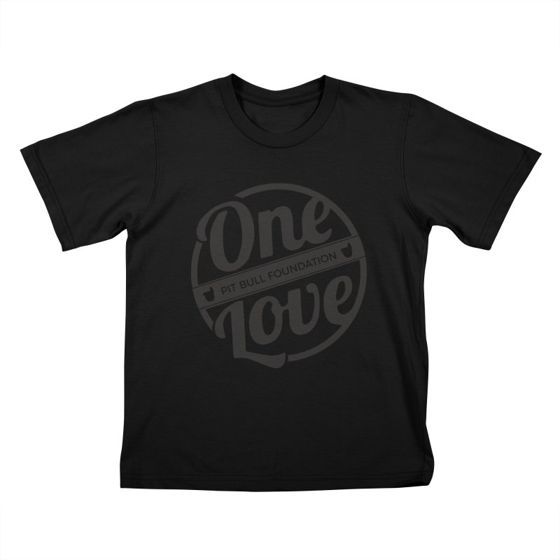 One Love Pit Bull Foundation Official Logo Black Kids T-Shirt by One Love Pit Bull Foundation