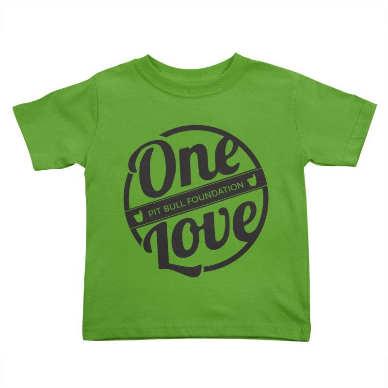 One Love Pit Bull Foundation Official Logo Black Kids Toddler T-Shirt by One Love Pit Bull Foundation
