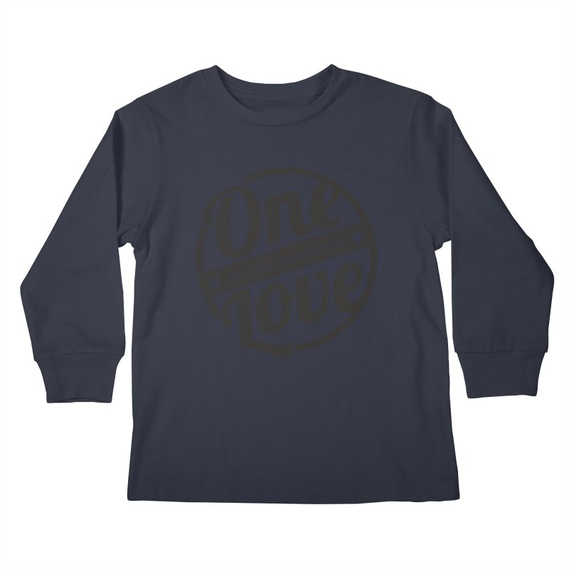 One Love Pit Bull Foundation Official Logo Black Kids Longsleeve T-Shirt by One Love Pit Bull Foundation