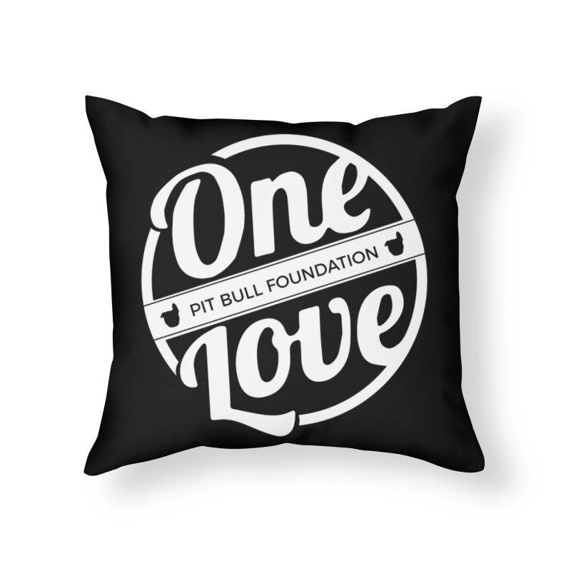 One Love Pit Bull Foundation Official Logo WHITE Home Throw Pillow by One Love Pit Bull Foundation
