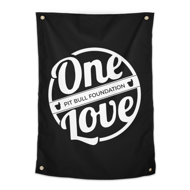 One Love Pit Bull Foundation Official Logo WHITE Home Tapestry by One Love Pit Bull Foundation
