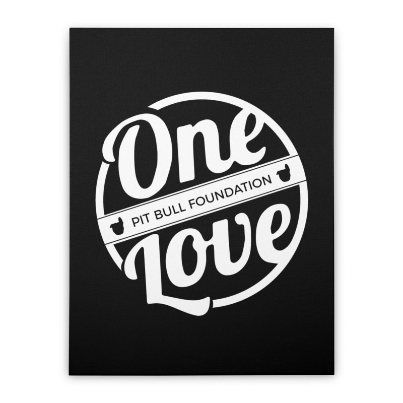 One Love Pit Bull Foundation Official Logo WHITE Home Stretched Canvas by One Love Pit Bull Foundation