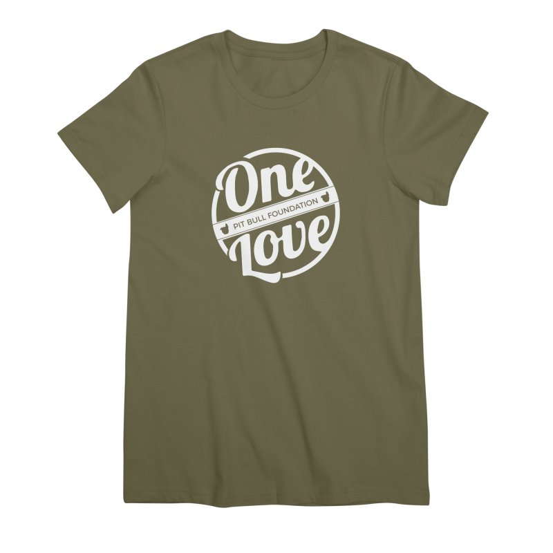 One Love Pit Bull Foundation Official Logo WHITE Women's T-Shirt by One Love Pit Bull Foundation