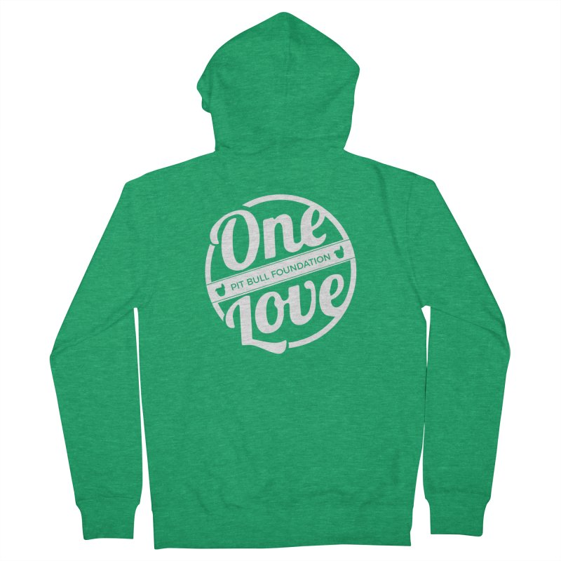 One Love Pit Bull Foundation Official Logo WHITE Women's Zip-Up Hoody by One Love Pit Bull Foundation