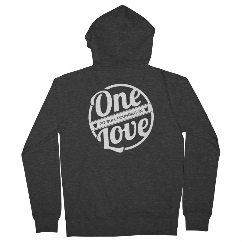 One Love Pit Bull Foundation Official Logo WHITE Men's Zip-Up Hoody by One Love Pit Bull Foundation