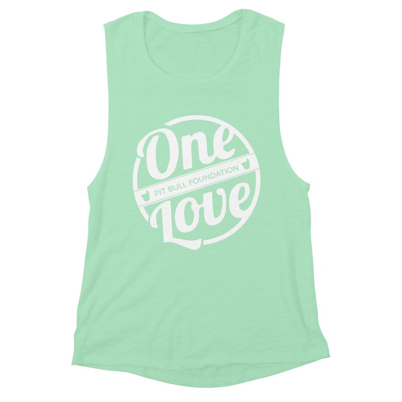 One Love Pit Bull Foundation Official Logo WHITE Women's Tank by One Love Pit Bull Foundation
