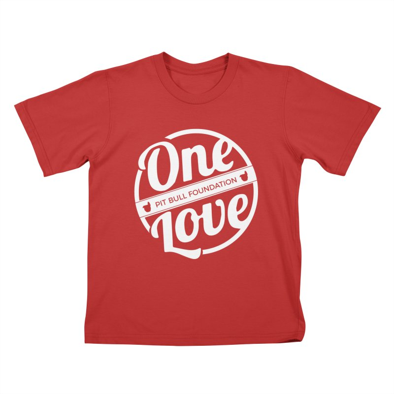 One Love Pit Bull Foundation Official Logo WHITE Kids T-Shirt by One Love Pit Bull Foundation