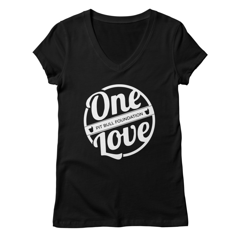 One Love Pit Bull Foundation Official Logo WHITE Women's V-Neck by One Love Pit Bull Foundation