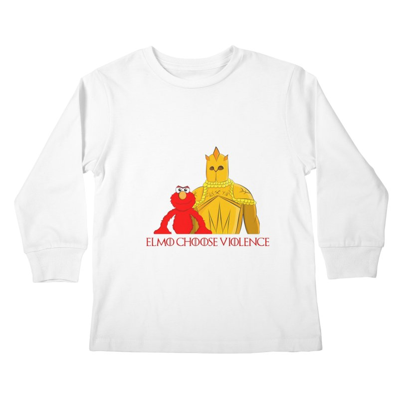 Elmo Choose Violence v2 Kids Longsleeve T-Shirt by oneweirddude's Artist Shop