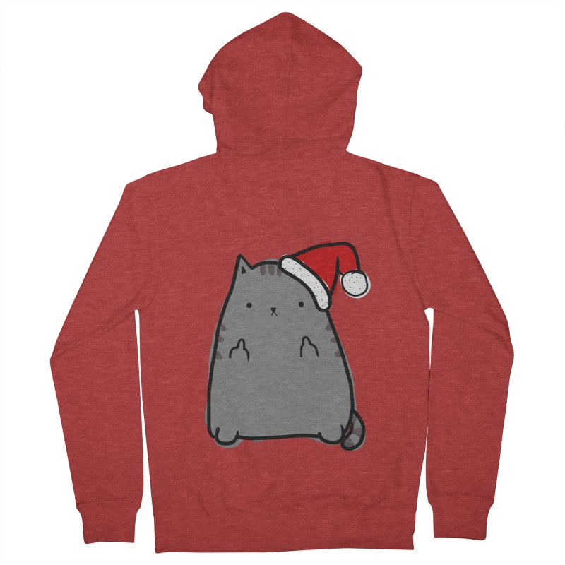 Christmas Kitty Men's French Terry Zip-Up Hoody by oneweirddude's Artist Shop