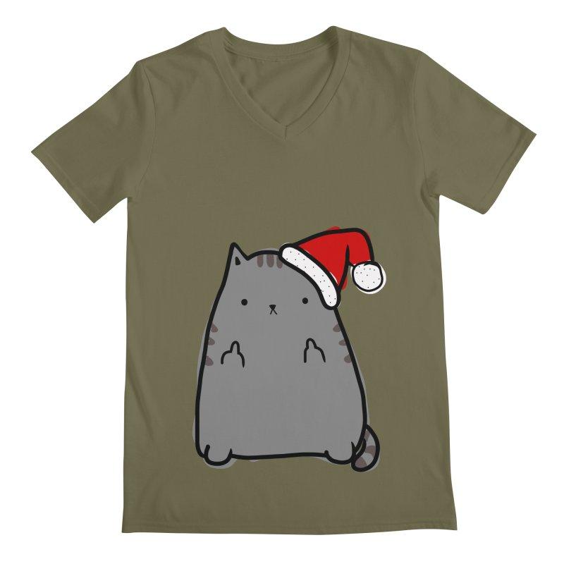 Christmas Kitty Men's V-Neck by oneweirddude's Artist Shop