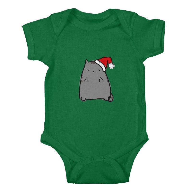 Christmas Kitty Kids Baby Bodysuit by oneweirddude's Artist Shop
