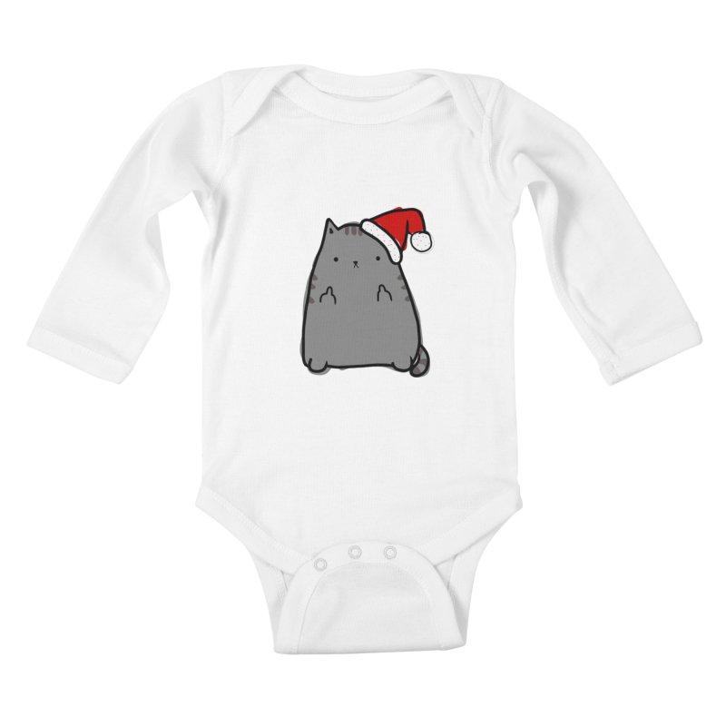 Christmas Kitty Kids Baby Longsleeve Bodysuit by oneweirddude's Artist Shop