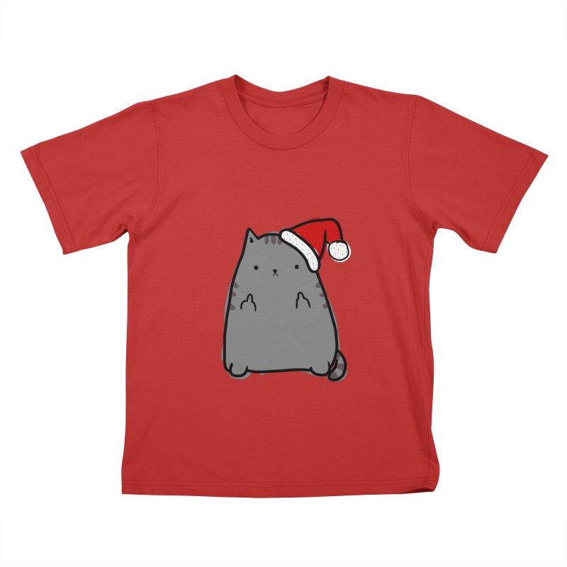 Christmas Kitty Kids T-Shirt by oneweirddude's Artist Shop