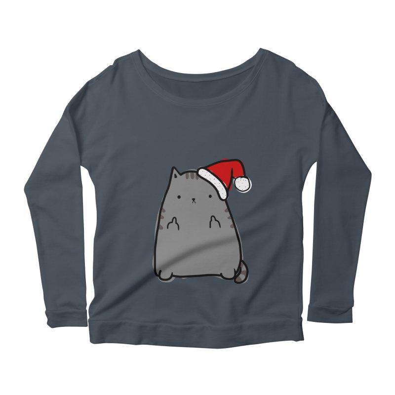 Christmas Kitty Women's Scoop Neck Longsleeve T-Shirt by oneweirddude's Artist Shop
