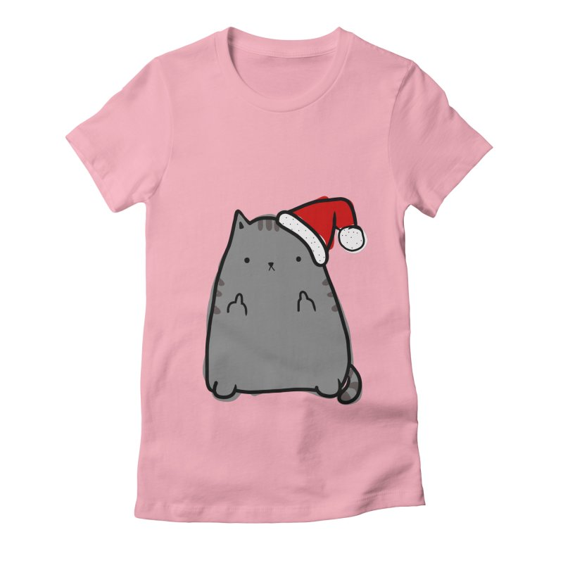 Christmas Kitty Women's Fitted T-Shirt by oneweirddude's Artist Shop