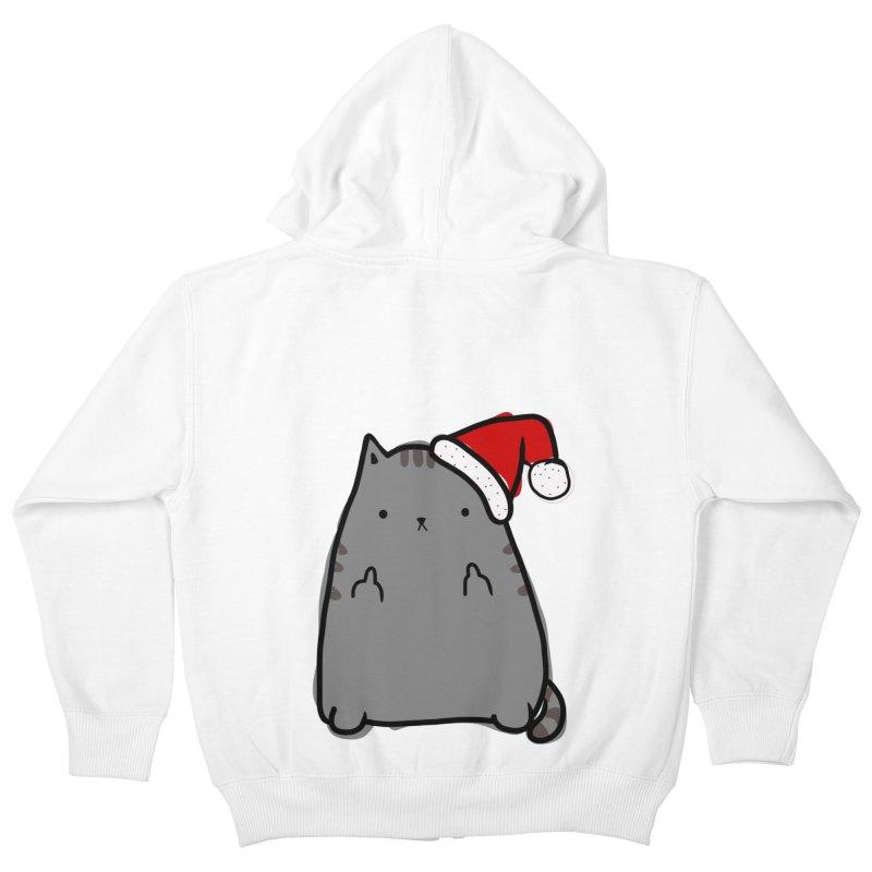 Christmas Kitty Kids Zip-Up Hoody by oneweirddude's Artist Shop
