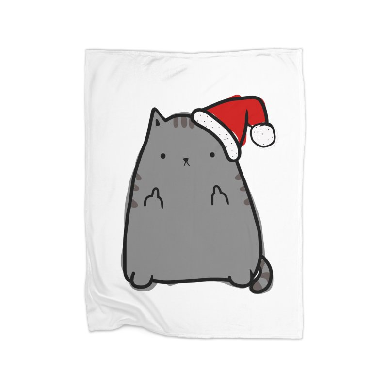 Christmas Kitty Home Fleece Blanket Blanket by oneweirddude's Artist Shop