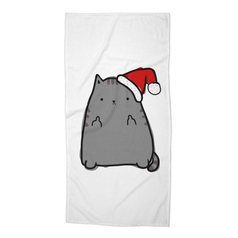 Christmas Kitty Accessories Beach Towel by oneweirddude's Artist Shop