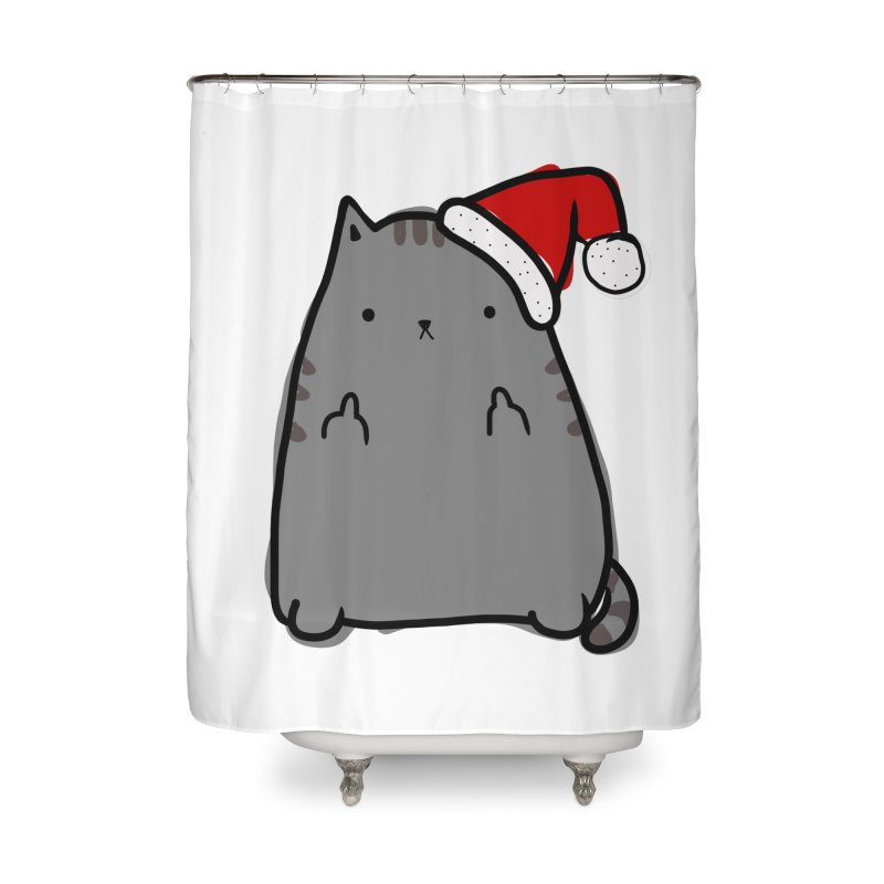 Christmas Kitty Home Shower Curtain by oneweirddude's Artist Shop