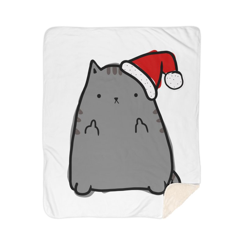 Christmas Kitty Home Sherpa Blanket Blanket by oneweirddude's Artist Shop