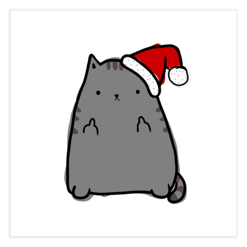 Christmas Kitty Home Fine Art Print by oneweirddude's Artist Shop