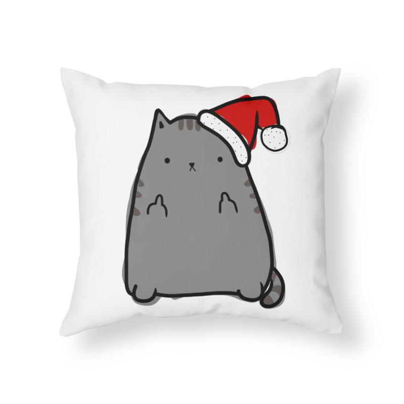 Christmas Kitty Home Throw Pillow by oneweirddude's Artist Shop