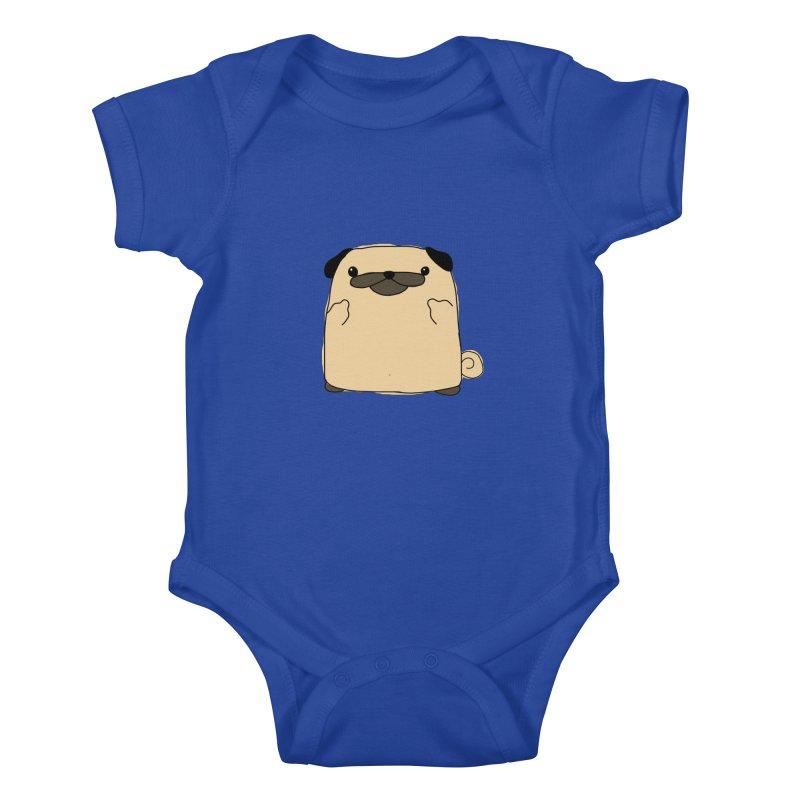 Pug Double Bird Kids Baby Bodysuit by oneweirddude's Artist Shop