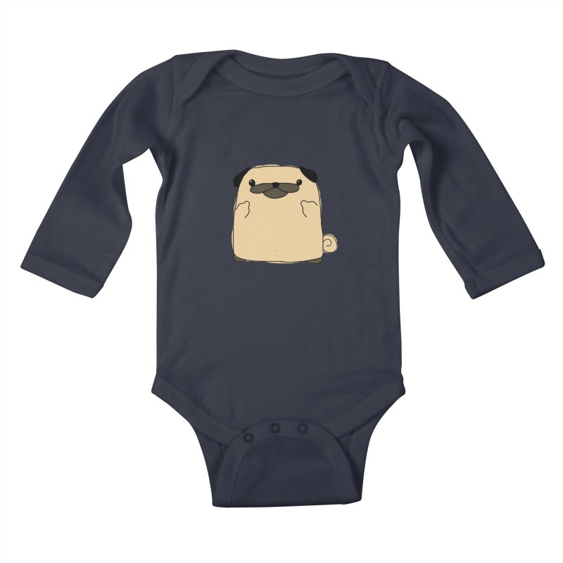 Pug Double Bird Kids Baby Longsleeve Bodysuit by oneweirddude's Artist Shop