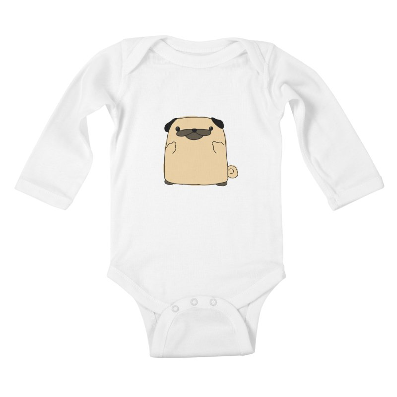 Pug Double Bird Kids Baby Longsleeve Bodysuit by oneweirddude's Artist Shop