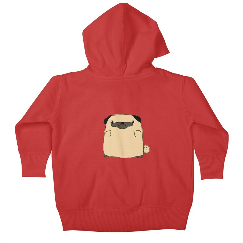 Pug Double Bird Kids Baby Zip-Up Hoody by oneweirddude's Artist Shop