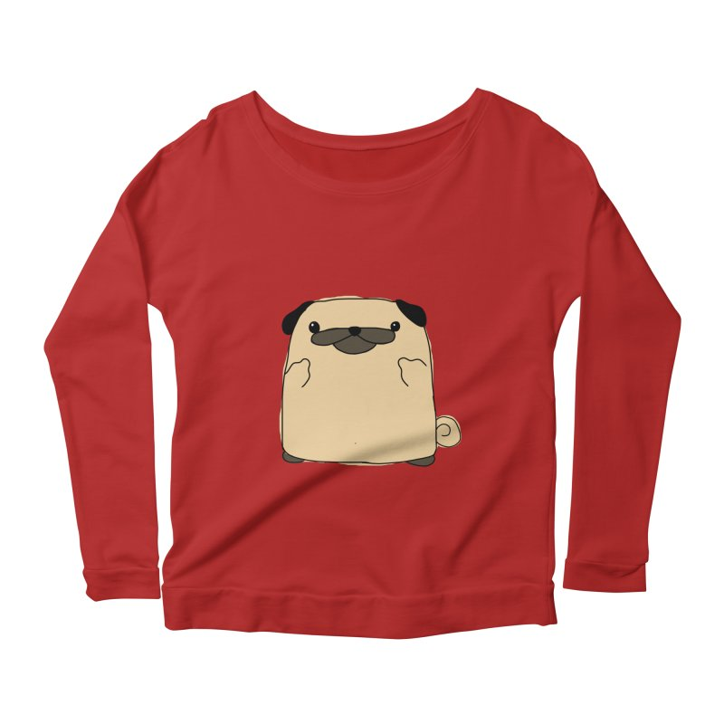 Pug Double Bird Women's Longsleeve Scoopneck  by oneweirddude's Artist Shop