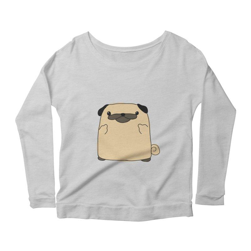 Pug Double Bird Women's Scoop Neck Longsleeve T-Shirt by oneweirddude's Artist Shop