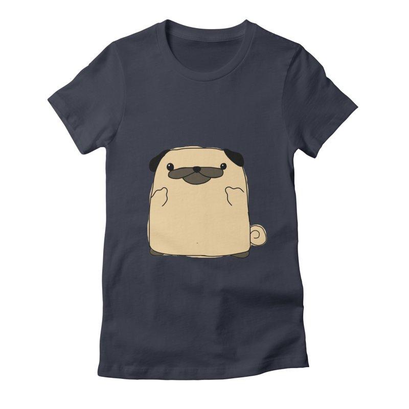 Pug Double Bird Women's Fitted T-Shirt by oneweirddude's Artist Shop