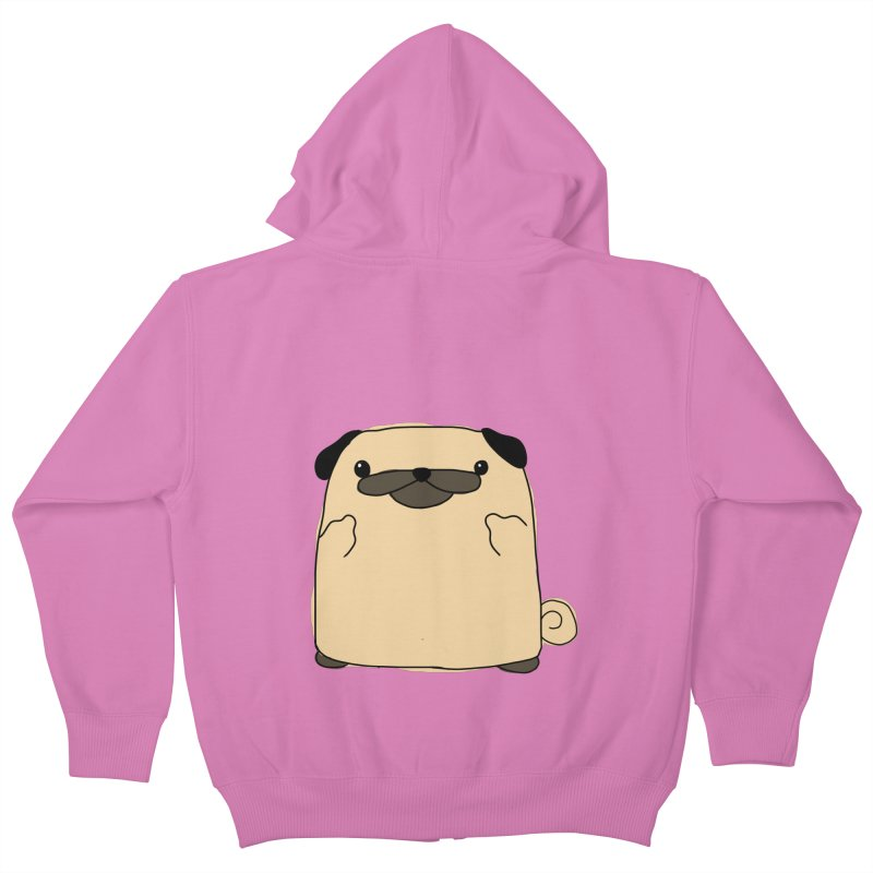 Pug Double Bird Kids Zip-Up Hoody by oneweirddude's Artist Shop